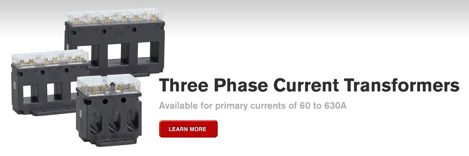 Three phase current transformers available for primary currents from 60 to 630A.